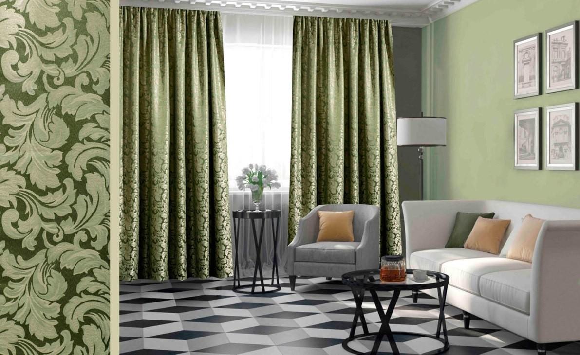 зеленые обои и коричневые шторы фото сама