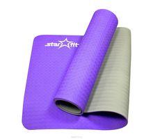 Коврик для йоги STARFIT FM-201 TPE 173x61x0,5см фиолетовый/серый   интернет-магазин TOPSTO