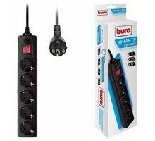 Сетевой фильтр Buro 500SH-5-B 5м (5 розеток) черный (коробка) | интернет-магазин TOPSTO