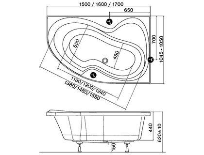 Ванна RAVAK Rosa II 150х105 правая белая (CJ21000000) | интернет-магазин TOPSTO