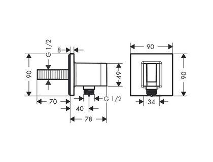 Шланговое подключение HANSGROHE Fixfit Porter Square 26486000 | интернет-магазин TOPSTO