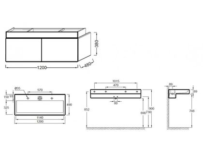 Тумба JACOB DELAFON TERRACE EB1188-G1C (EB1188-HU) под раковину EXB112 или EXB9112 | интернет-магазин TOPSTO