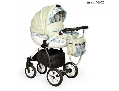 Коляска INDIGO ML 02 MADONNA Lux 2в1 фисташка+зеленые цветы   интернет-магазин TOPSTO