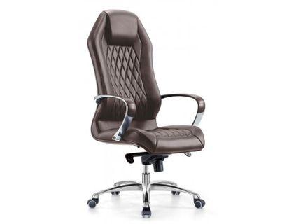 Кресло руководителя Бюрократ Aura/Brown коричневый кожа крестовина алюминий | интернет-магазин TOPSTO