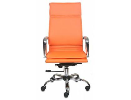 Кресло руководителя Бюрократ CH-993/orange оранжевый искусственная кожа крестовина хром   интернет-магазин TOPSTO