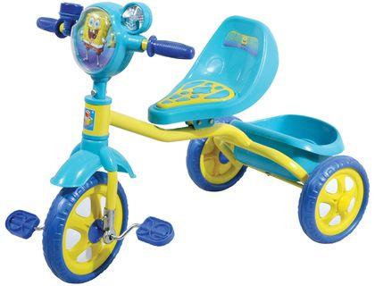 Велосипед 1toy Губка Боб 3-хкол.пласт.кол.10 /8 ,массаж.сид.,рельеф.рис.,вент.,корз.синий Т57655   интернет-магазин TOPSTO