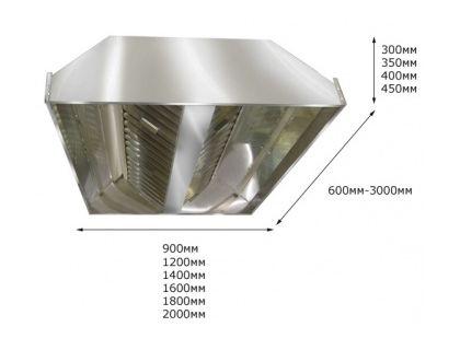 Зонт вытяжной центральный ITERMA ЗВЦ-1800Х1200Х350   интернет-магазин TOPSTO