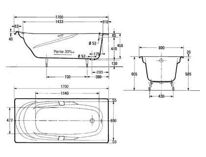 Ванна JACOB DELAFON ADAGIO E2910-00 170х80 с отверстиями для ручек | интернет-магазин TOPSTO