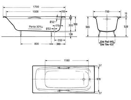 Ванна JACOB DELAFON DIAPASON E2926-00 170х75 с отверстиями для ручек | интернет-магазин TOPSTO