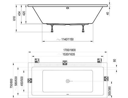 Ванна RAVAK FORMY 02 180x80 белая (C891000000)   интернет-магазин TOPSTO