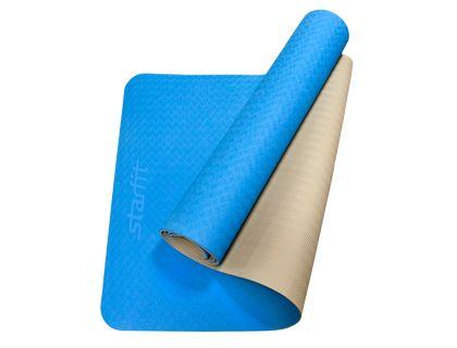 Коврик для йоги STARFIT FM-201 TPE 173x61x0,4см синий/серый | интернет-магазин TOPSTO