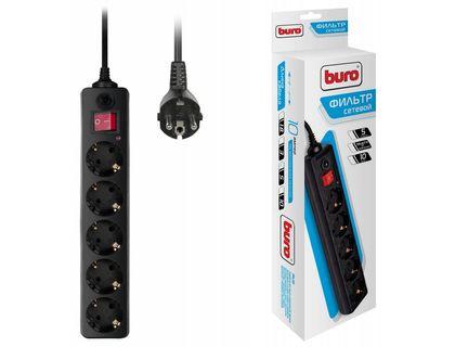 Сетевой фильтр Buro 500SH-5-B 5м (5 розеток) черный (коробка)   интернет-магазин TOPSTO
