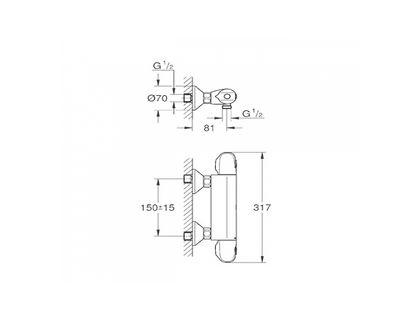 Термостат GROHE Grohtherm 1000 New 34143003 | интернет-магазин TOPSTO