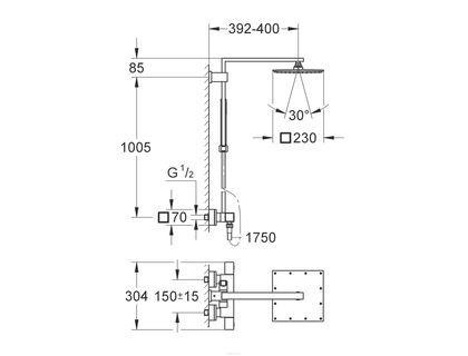 Душевая система GROHE Grohtherm Cube 26087000   интернет-магазин TOPSTO