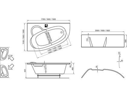 Ванна RAVAK ASYMMETRIC 170x110 L белая (C481000000)   интернет-магазин TOPSTO