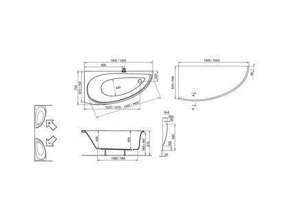 Ванна RAVAK AVOCADO 150 левая, белая (CT01000000) | интернет-магазин TOPSTO