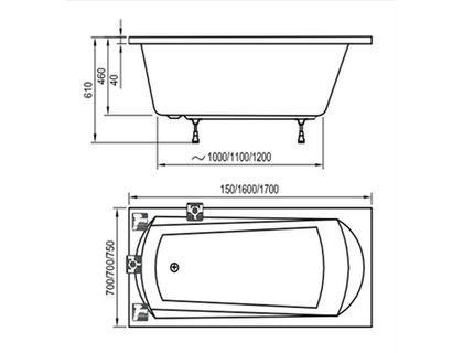 Ванна RAVAK DOMINO 160х70 белая (C621000000) | интернет-магазин TOPSTO