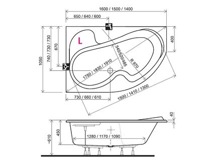 Ванна RAVAK Rosa I 160х105 правая белая (CL01000000) | интернет-магазин TOPSTO
