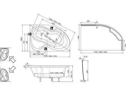 Ванна RAVAK Rosa II 170х105 левая белая (C221000000) | интернет-магазин TOPSTO