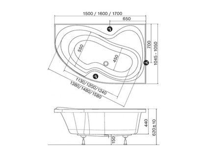 Ванна RAVAK Rosa II 170х105 правая белая (C421000000) | интернет-магазин TOPSTO